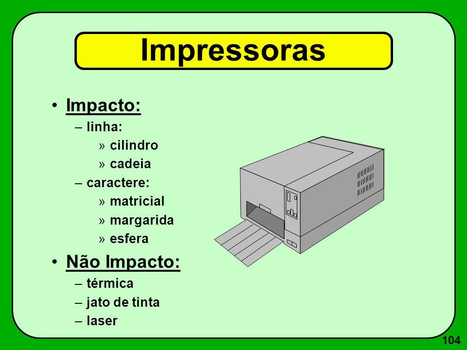 104 Impressoras Impacto: –linha: »cilindro »cadeia –caractere: »matricial »margarida »esfera Não Impacto: –térmica –jato de tinta –laser
