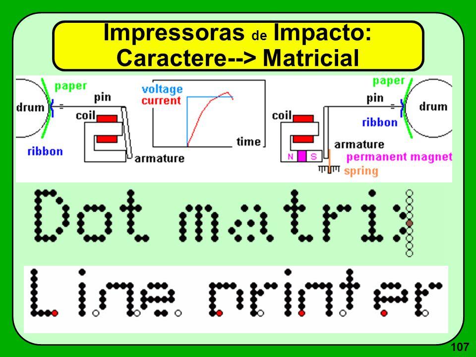 107 Impressoras de Impacto: Caractere--> Matricial