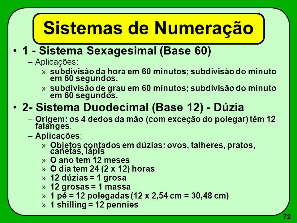 72 Sistemas de Numeração 1 - Sistema Sexagesimal (Base 60) –Aplicações: »subdivisão da hora em 60 minutos; subdivisão do minuto em 60 segundos. »subdi