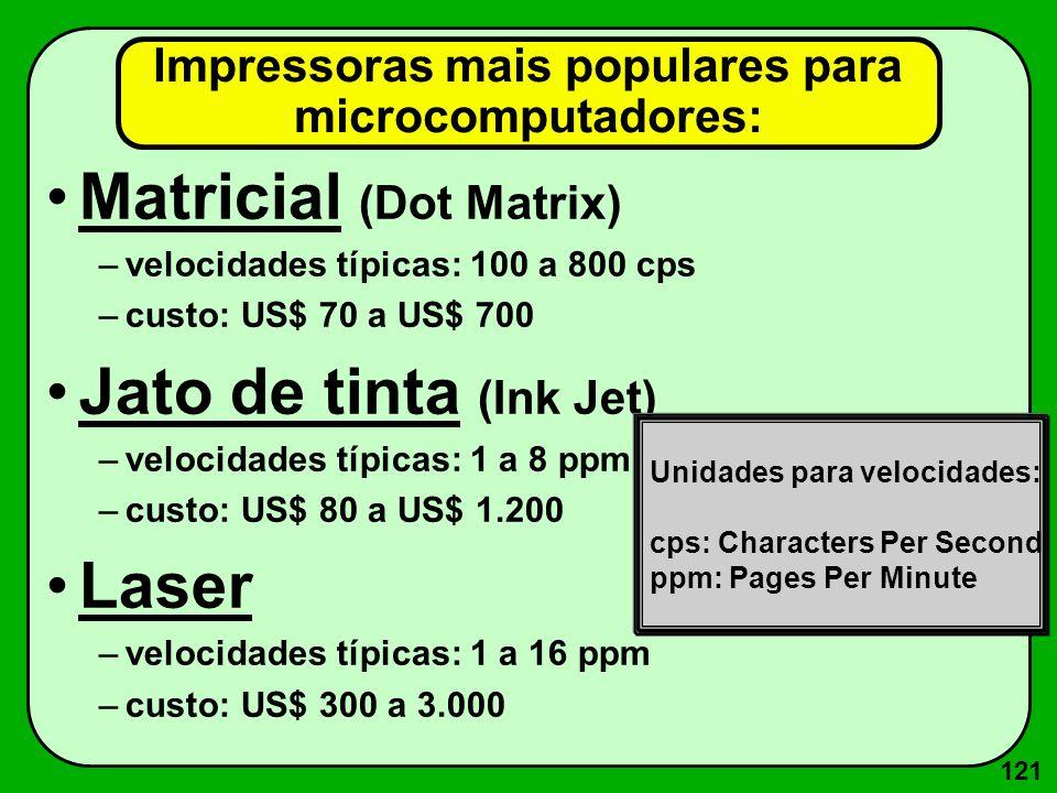 121 Impressoras mais populares para microcomputadores: Matricial (Dot Matrix) –velocidades típicas: 100 a 800 cps –custo: US$ 70 a US$ 700 Jato de tin