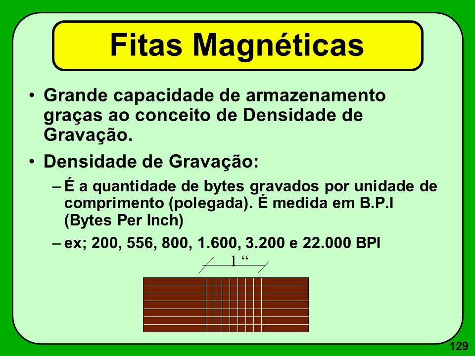 129 Fitas Magnéticas Grande capacidade de armazenamento graças ao conceito de Densidade de Gravação. Densidade de Gravação: –É a quantidade de bytes g