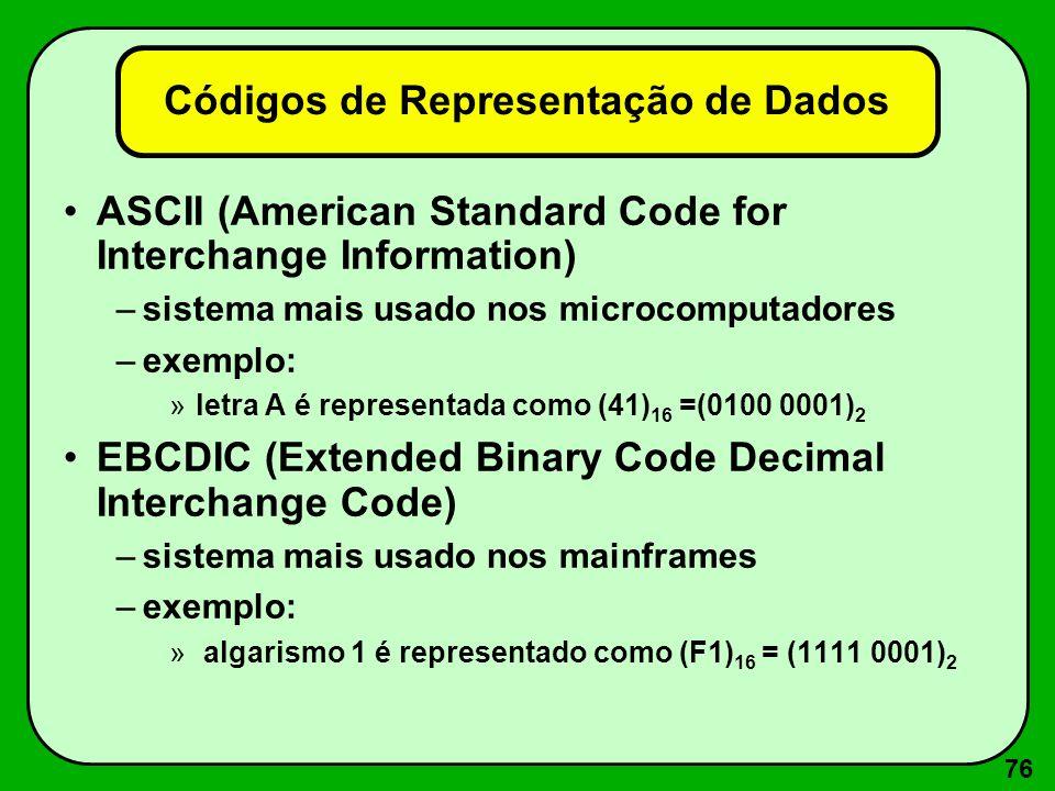 76 Códigos de Representação de Dados ASCII (American Standard Code for Interchange Information) –sistema mais usado nos microcomputadores –exemplo: »l