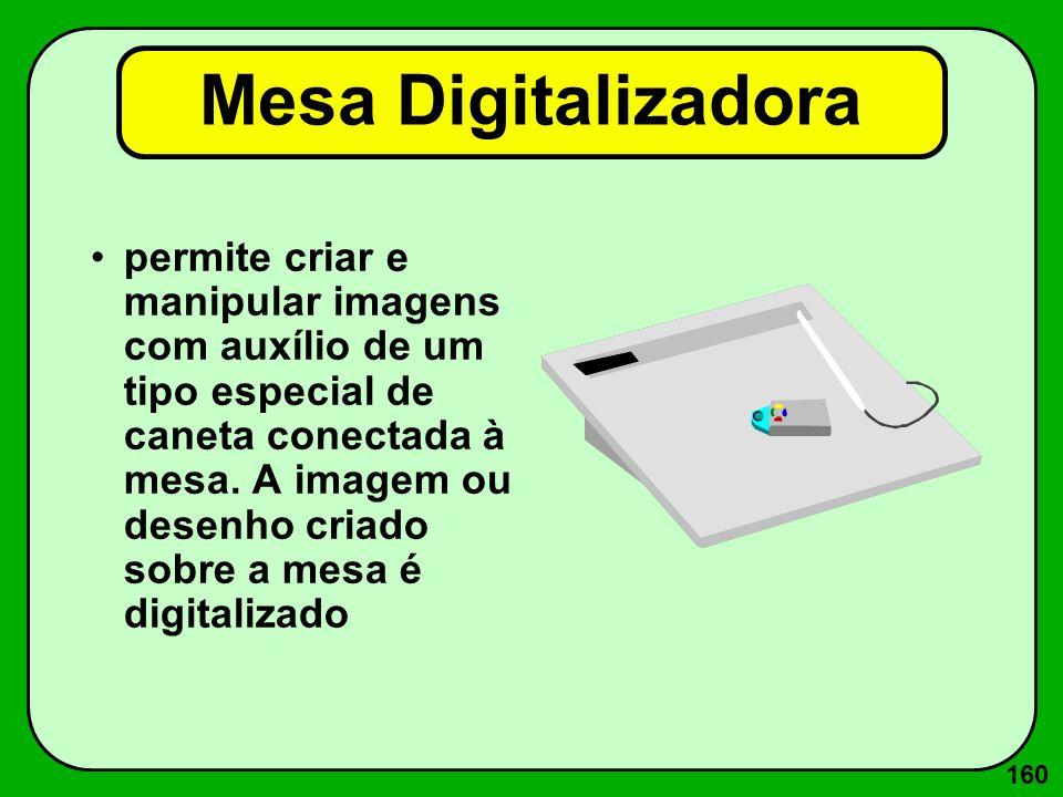 160 Mesa Digitalizadora permite criar e manipular imagens com auxílio de um tipo especial de caneta conectada à mesa. A imagem ou desenho criado sobre