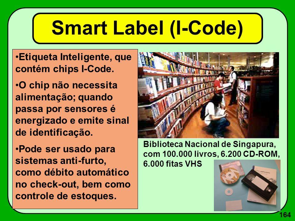 164 Smart Label (I-Code) Etiqueta Inteligente, que contém chips I-Code. O chip não necessita alimentação; quando passa por sensores é energizado e emi