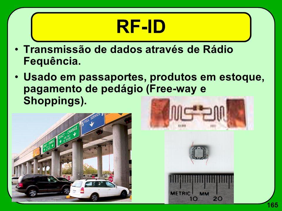 165 RF-ID Transmissão de dados através de Rádio Fequência. Usado em passaportes, produtos em estoque, pagamento de pedágio (Free-way e Shoppings).