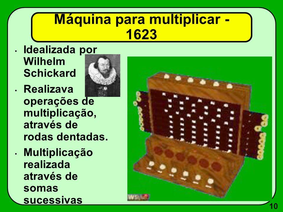 10 Máquina para multiplicar - 1623 Idealizada por Wilhelm Schickard Realizava operações de multiplicação, através de rodas dentadas. Multiplicação rea