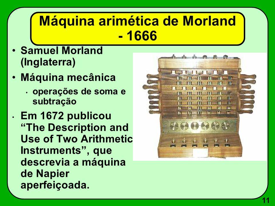 11 Máquina arimética de Morland - 1666 Samuel Morland (Inglaterra) Máquina mecânica operações de soma e subtração Em 1672 publicou The Description and