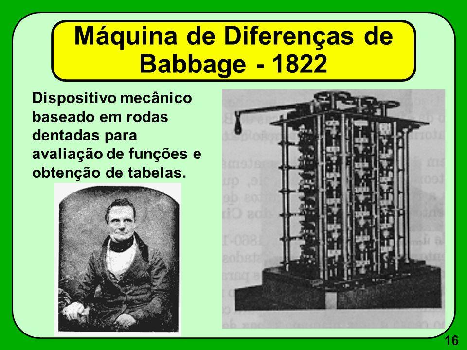16 Dispositivo mecânico baseado em rodas dentadas para avaliação de funções e obtenção de tabelas. Máquina de Diferenças de Babbage - 1822