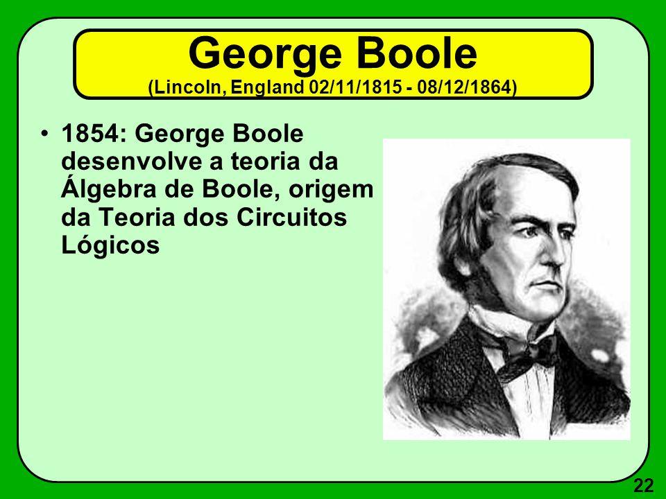 22 George Boole (Lincoln, England 02/11/1815 - 08/12/1864) 1854: George Boole desenvolve a teoria da Álgebra de Boole, origem da Teoria dos Circuitos