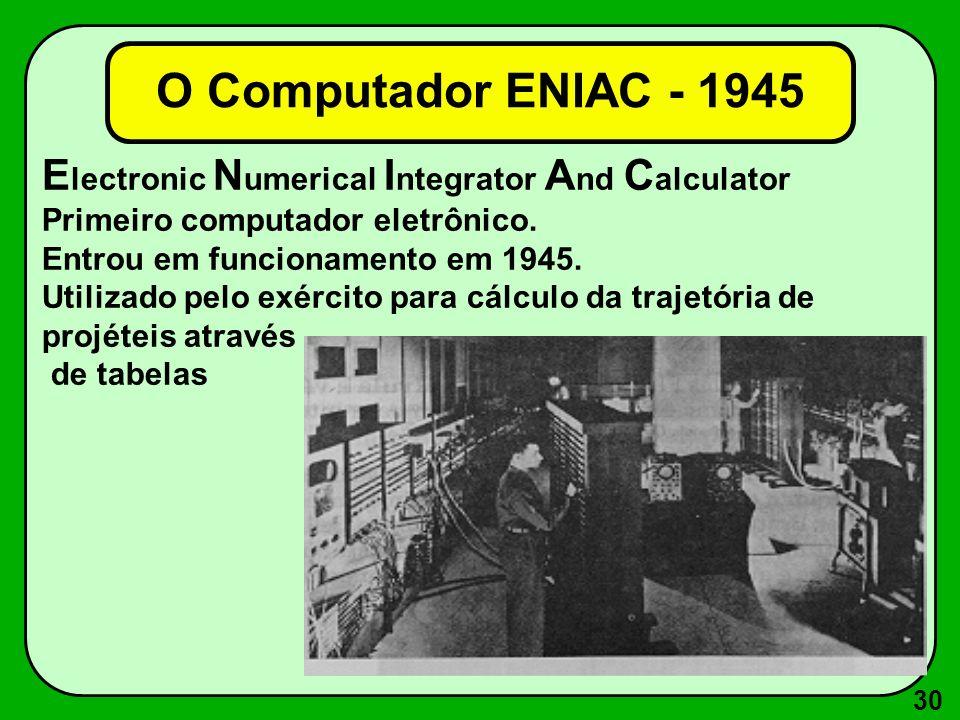 30 E lectronic N umerical I ntegrator A nd C alculator Primeiro computador eletrônico. Entrou em funcionamento em 1945. Utilizado pelo exército para c