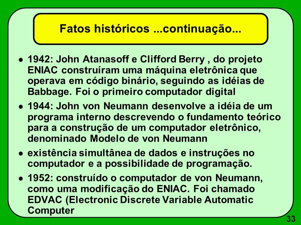 33 Fatos históricos...continuação... 1942: John Atanasoff e Clifford Berry, do projeto ENIAC construíram uma máquina eletrônica que operava em código