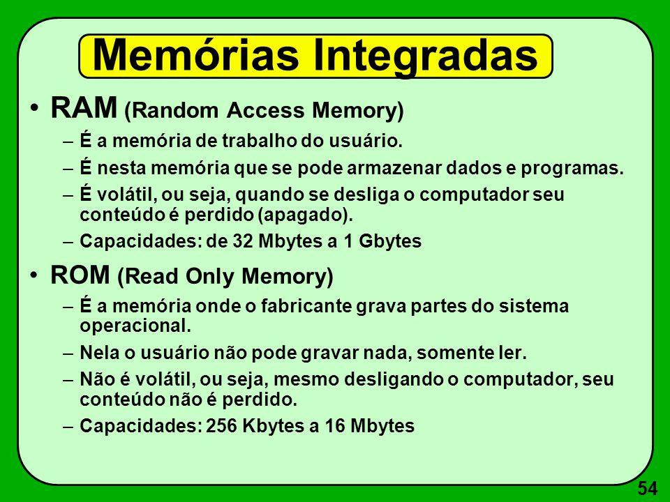 54 Memórias Integradas RAM (Random Access Memory) –É a memória de trabalho do usuário. –É nesta memória que se pode armazenar dados e programas. –É vo