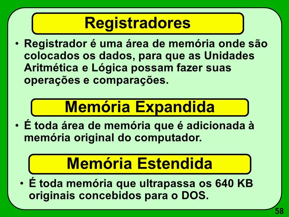 58 Registradores Registrador é uma área de memória onde são colocados os dados, para que as Unidades Aritmética e Lógica possam fazer suas operações e