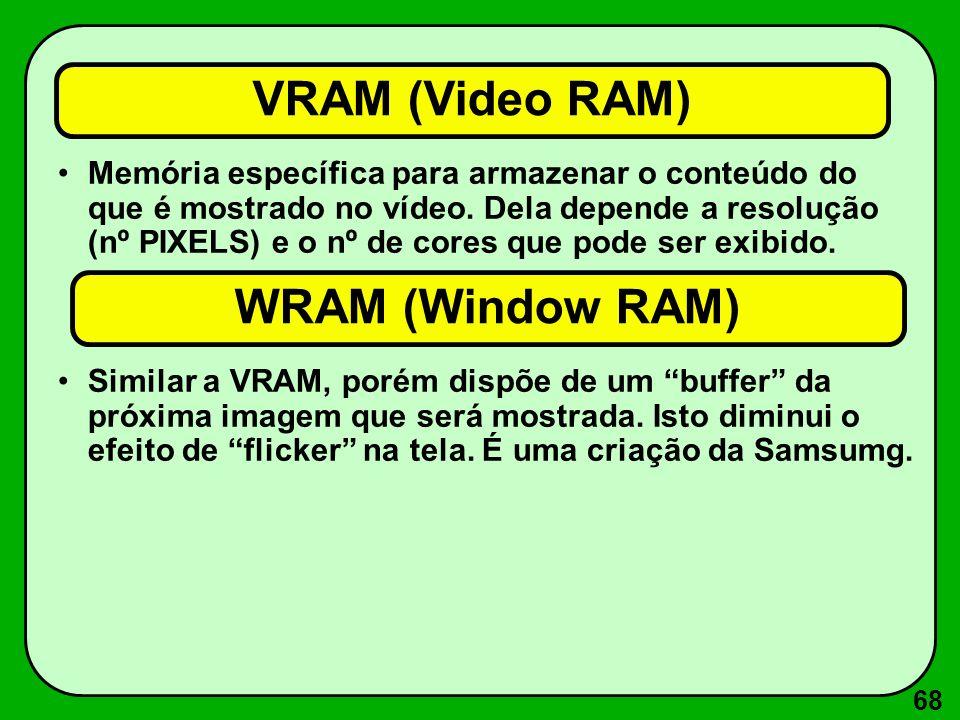 68 VRAM (Video RAM) Memória específica para armazenar o conteúdo do que é mostrado no vídeo. Dela depende a resolução (nº PIXELS) e o nº de cores que