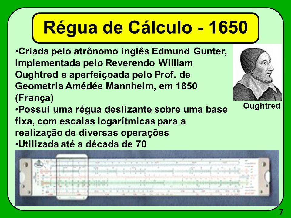 7 Criada pelo atrônomo inglês Edmund Gunter, implementada pelo Reverendo William Oughtred e aperfeiçoada pelo Prof. de Geometria Amédée Mannheim, em 1