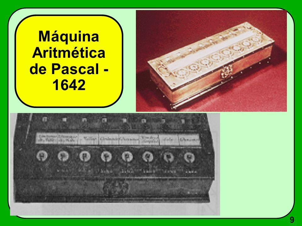 10 Máquina para multiplicar - 1623 Idealizada por Wilhelm Schickard Realizava operações de multiplicação, através de rodas dentadas.