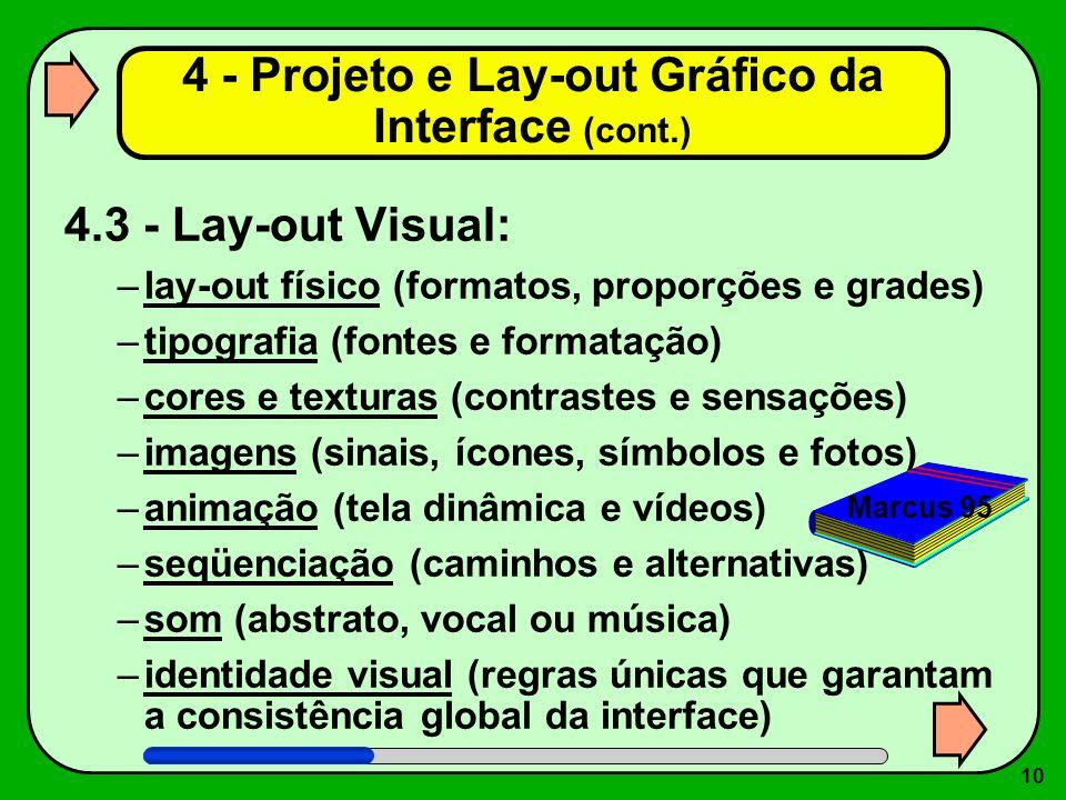 10 4.3 - Lay-out Visual: –lay-out físico (formatos, proporções e grades) –tipografia (fontes e formatação) –cores e texturas (contrastes e sensações)