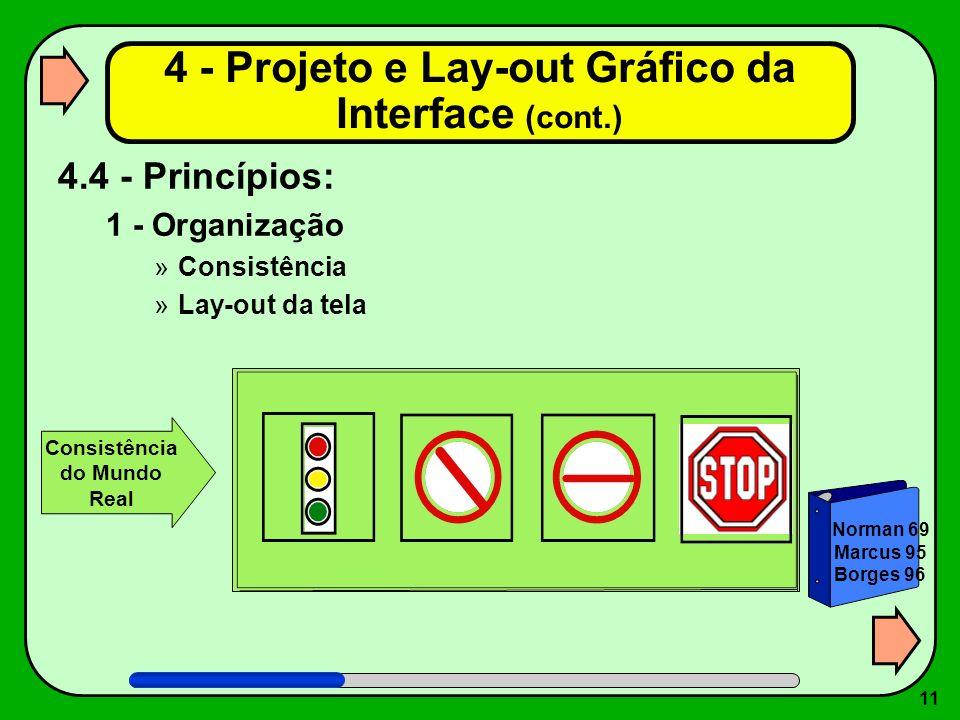 11 4.4 - Princípios: 1 - Organização »Consistência »Lay-out da tela 4 - Projeto e Lay-out Gráfico da Interface (cont.) Norman 69 Marcus 95 Borges 96 C