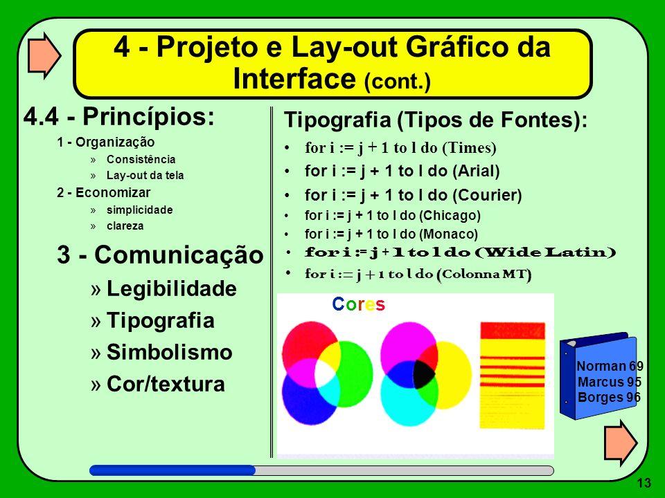 13 4.4 - Princípios: 1 - Organização »Consistência »Lay-out da tela 2 - Economizar »simplicidade »clareza 3 - Comunicação »Legibilidade »Tipografia »S