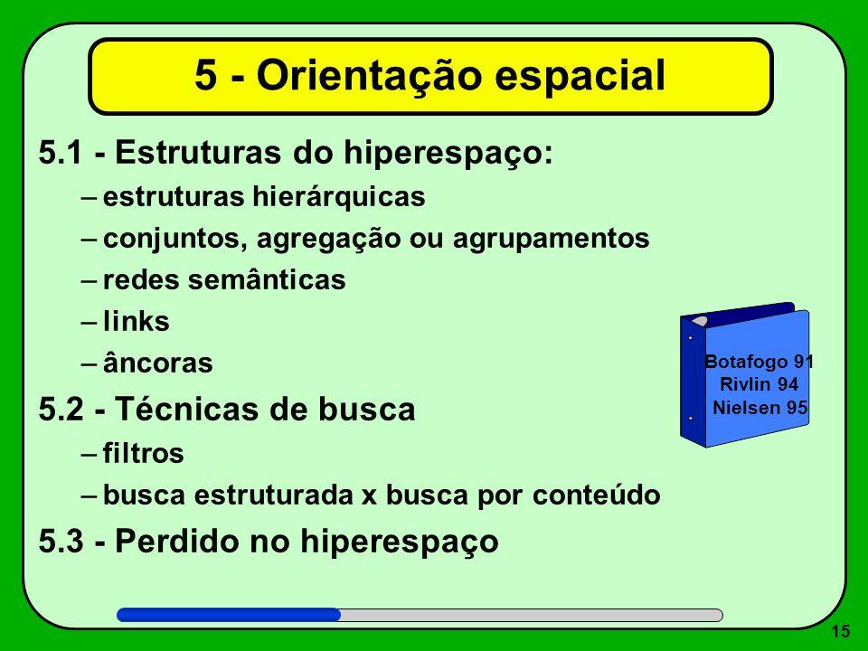 15 5 - Orientação espacial 5.1 - Estruturas do hiperespaço: –estruturas hierárquicas –conjuntos, agregação ou agrupamentos –redes semânticas –links –â