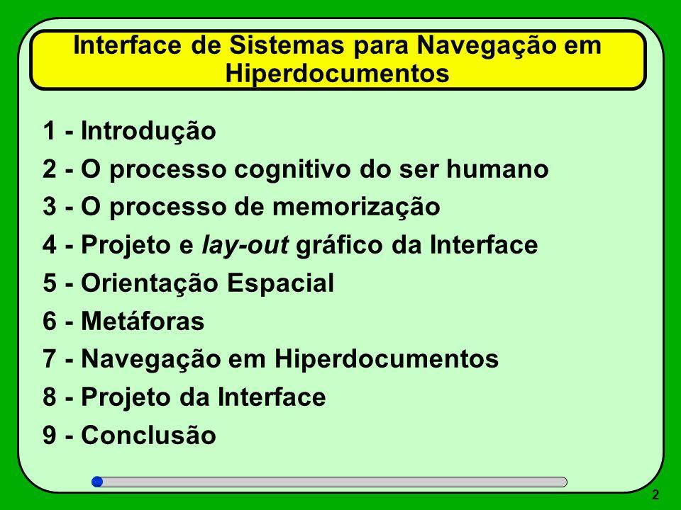 2 1 - Introdução 2 - O processo cognitivo do ser humano 3 - O processo de memorização 4 - Projeto e lay-out gráfico da Interface 5 - Orientação Espaci