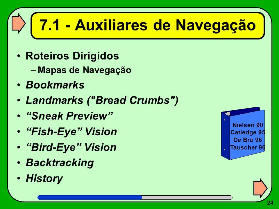 24 7.1 - Auxiliares de Navegação Roteiros Dirigidos –Mapas de Navegação Bookmarks Landmarks (