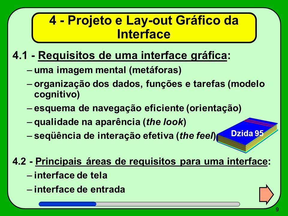 10 4.3 - Lay-out Visual: –lay-out físico (formatos, proporções e grades) –tipografia (fontes e formatação) –cores e texturas (contrastes e sensações) –imagens (sinais, ícones, símbolos e fotos) –animação (tela dinâmica e vídeos) –seqüenciação (caminhos e alternativas) –som (abstrato, vocal ou música) –identidade visual (regras únicas que garantam a consistência global da interface) 4 - Projeto e Lay-out Gráfico da Interface (cont.) Marcus 95