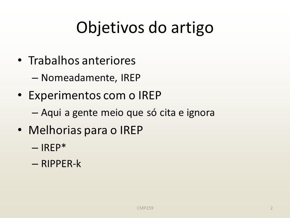 CMP2592 Objetivos do artigo Trabalhos anteriores – Nomeadamente, IREP Experimentos com o IREP – Aqui a gente meio que só cita e ignora Melhorias para o IREP – IREP* – RIPPER-k
