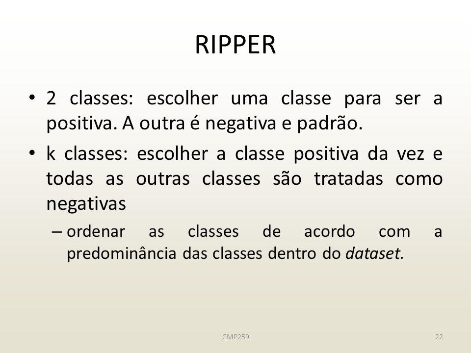 CMP25922 RIPPER 2 classes: escolher uma classe para ser a positiva.