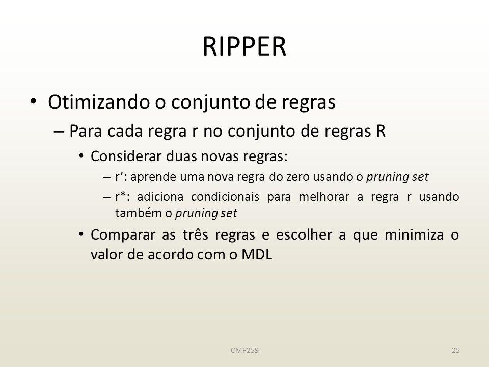 CMP25925 RIPPER Otimizando o conjunto de regras – Para cada regra r no conjunto de regras R Considerar duas novas regras: – r: aprende uma nova regra do zero usando o pruning set – r*: adiciona condicionais para melhorar a regra r usando também o pruning set Comparar as três regras e escolher a que minimiza o valor de acordo com o MDL