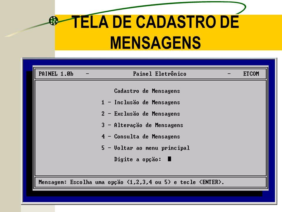 TELA DE CADASTRO DE MENSAGENS