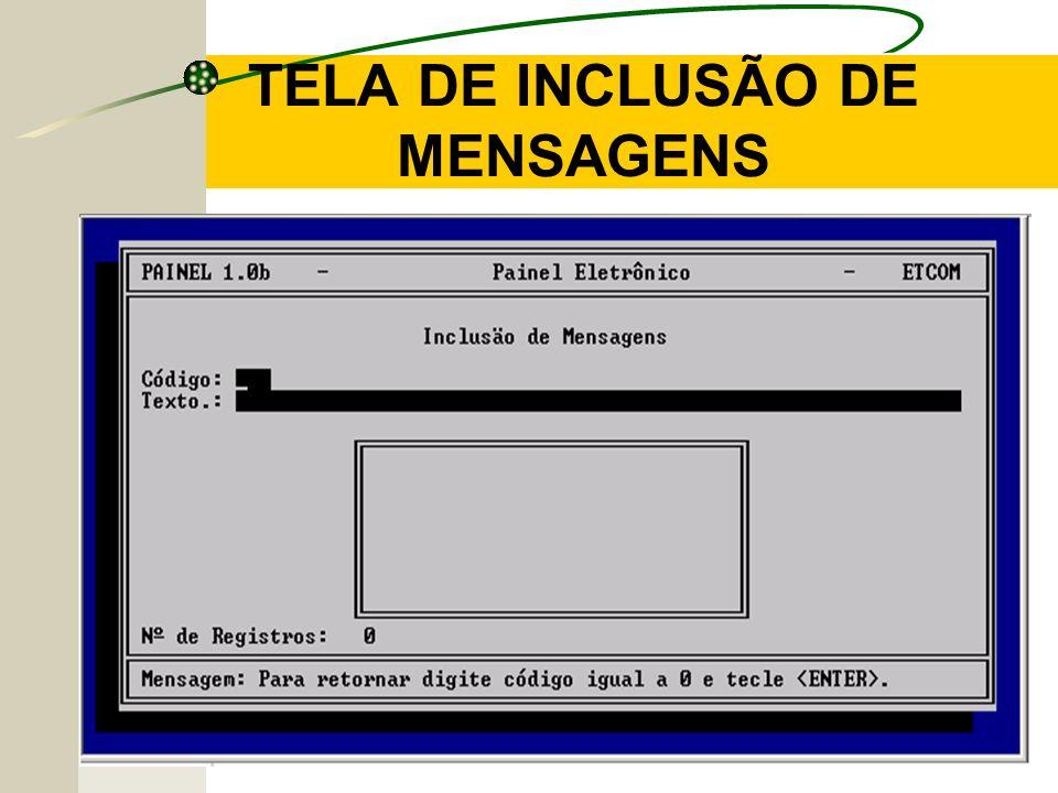 TELA DE INCLUSÃO DE MENSAGENS