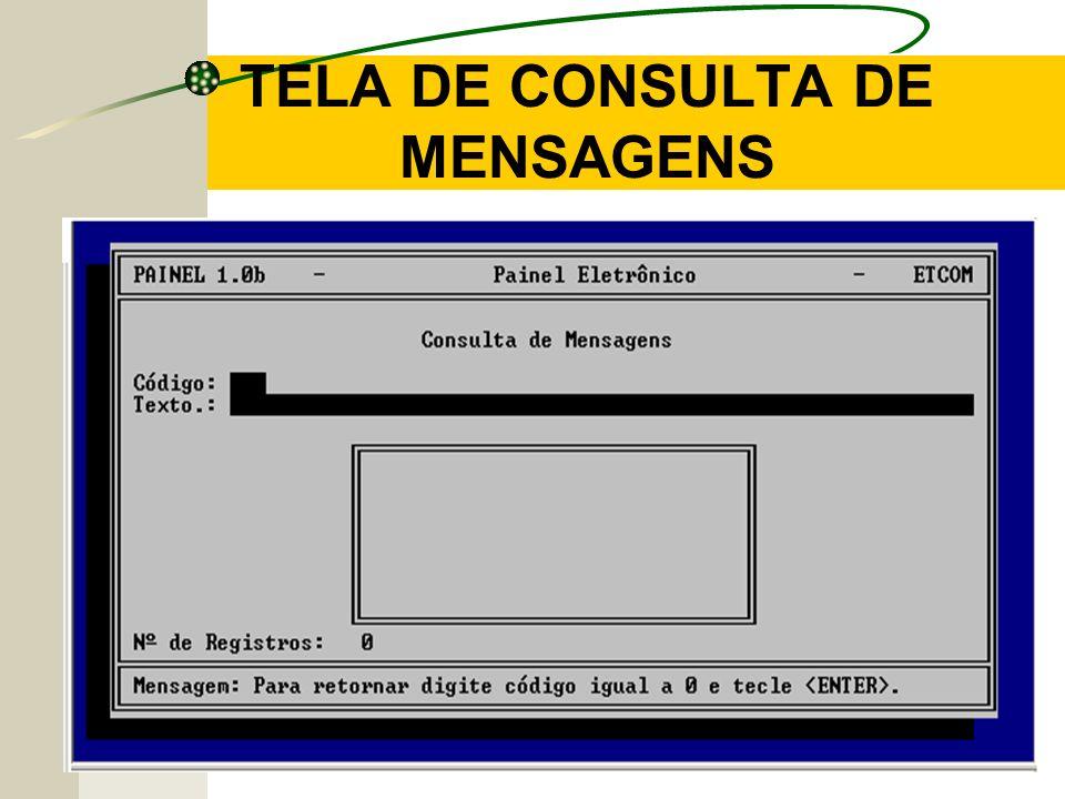 TELA DE CONSULTA DE MENSAGENS