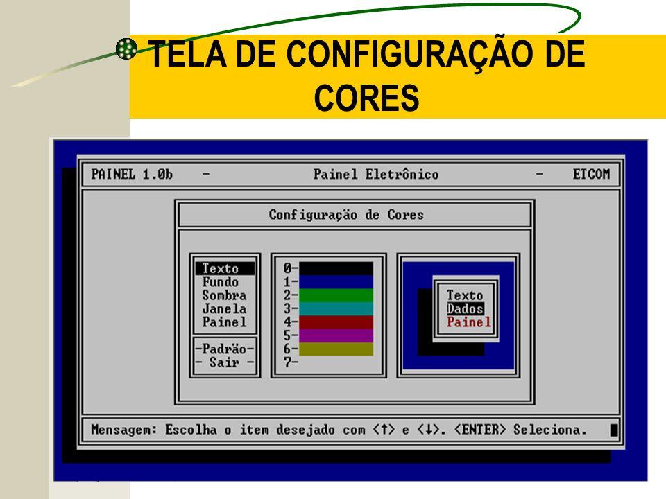 TELA DE CONFIGURAÇÃO DE CORES
