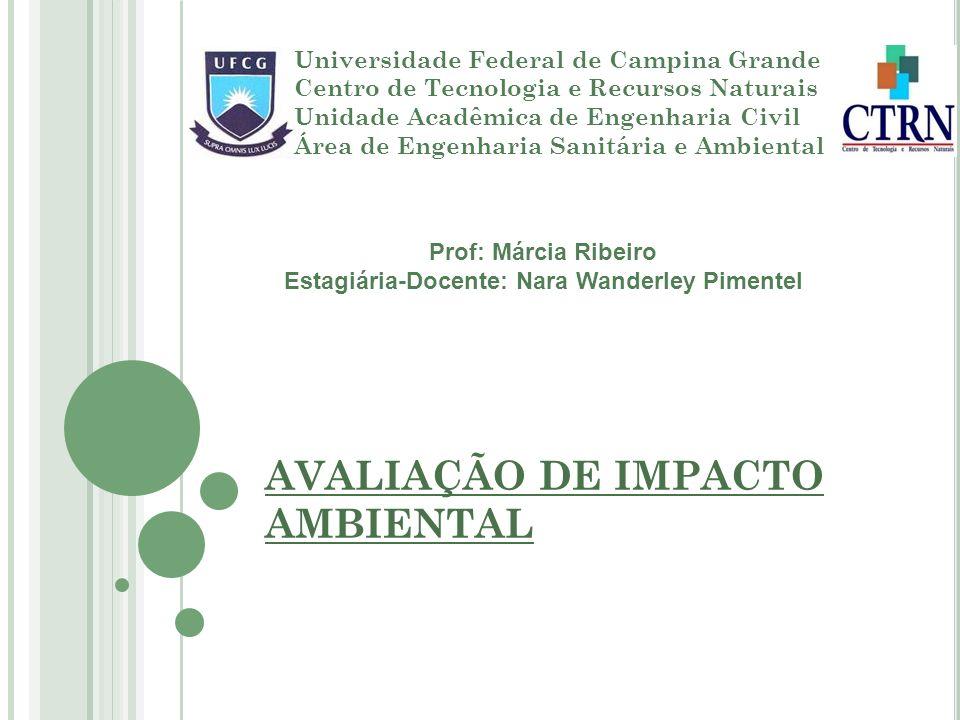 AVALIAÇÃO DE IMPACTO AMBIENTAL Universidade Federal de Campina Grande Centro de Tecnologia e Recursos Naturais Unidade Acadêmica de Engenharia Civil Á