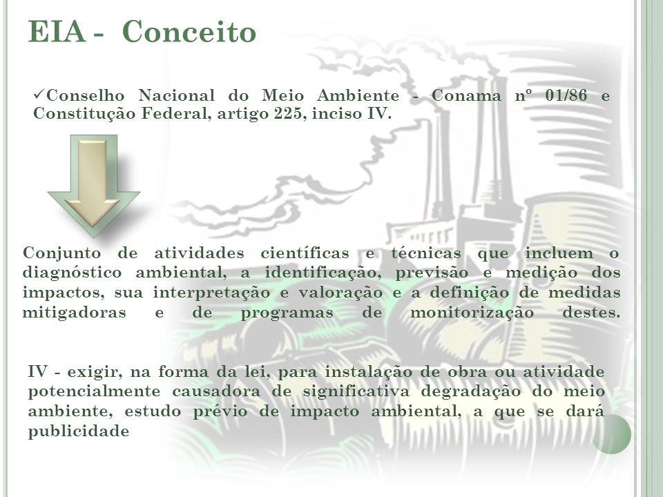 EIA - Conceito Conjunto de atividades científicas e técnicas que incluem o diagnóstico ambiental, a identificação, previsão e medição dos impactos, su