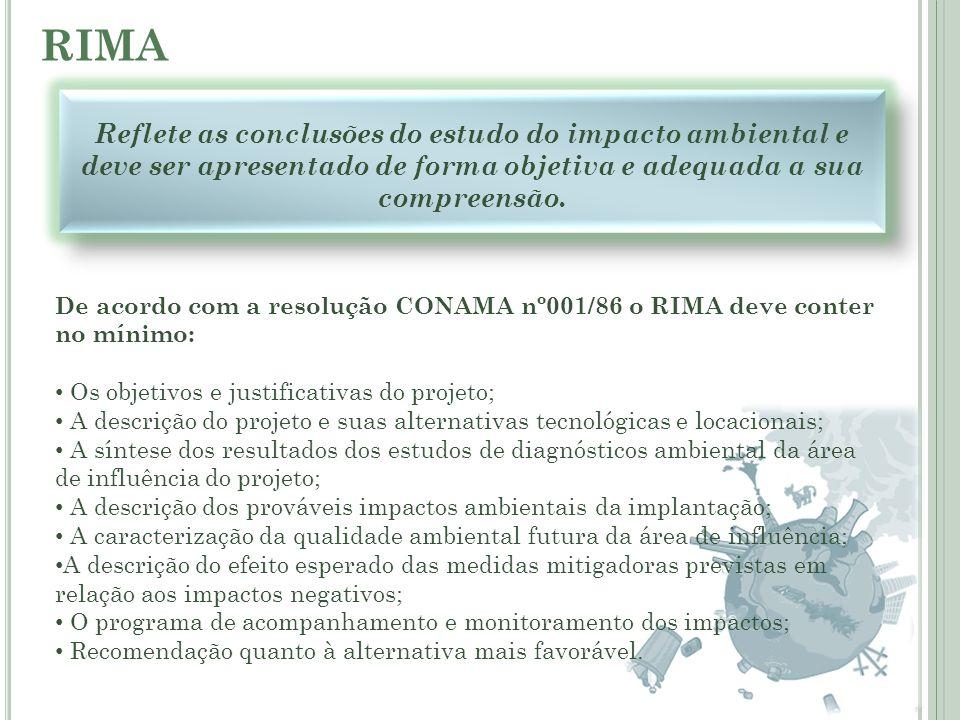 RIMA Reflete as conclusões do estudo do impacto ambiental e deve ser apresentado de forma objetiva e adequada a sua compreensão. De acordo com a resol