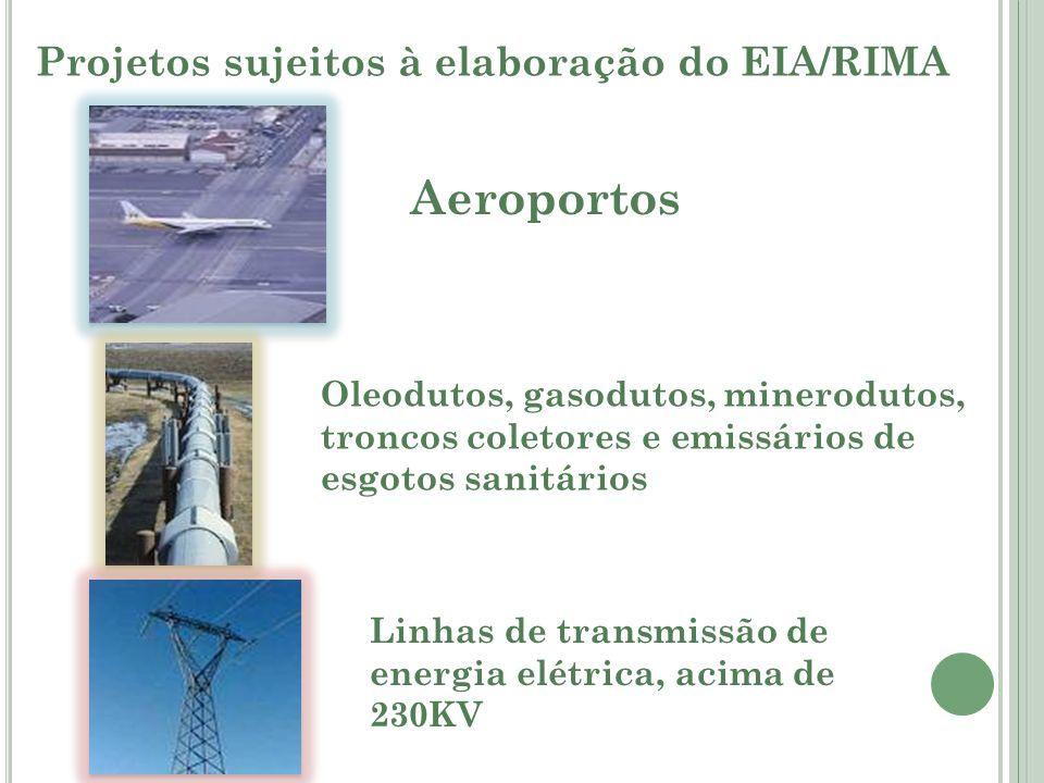 Projetos sujeitos à elaboração do EIA/RIMA Aeroportos Oleodutos, gasodutos, minerodutos, troncos coletores e emissários de esgotos sanitários Linhas d
