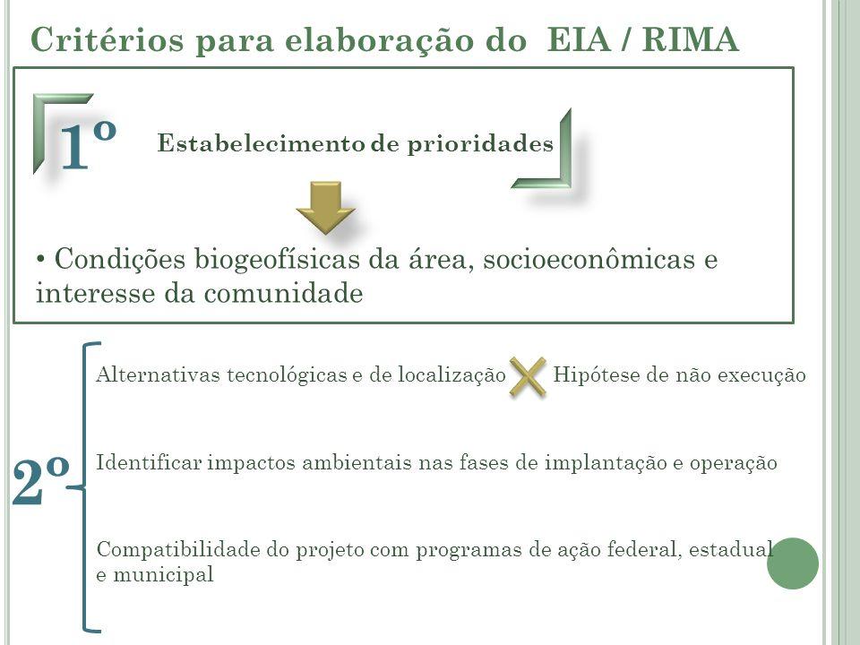 Critérios para elaboração do EIA / RIMA 1º Estabelecimento de prioridades Condições biogeofísicas da área, socioeconômicas e interesse da comunidade 2