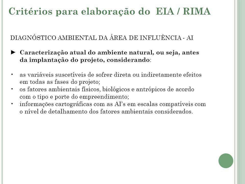 DIAGNÓSTICO AMBIENTAL DA ÁREA DE INFLUÊNCIA - AI Caracterização atual do ambiente natural, ou seja, antes da implantação do projeto, considerando : as