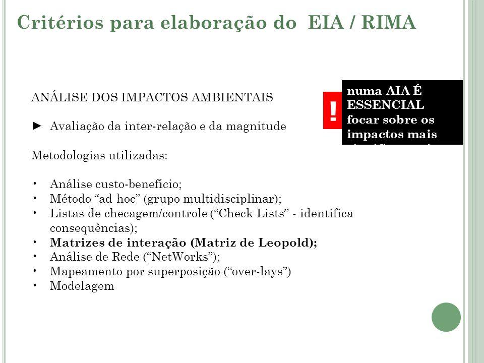 ANÁLISE DOS IMPACTOS AMBIENTAIS Avaliação da inter-relação e da magnitude Metodologias utilizadas: Análise custo-benefício; Método ad hoc (grupo multi
