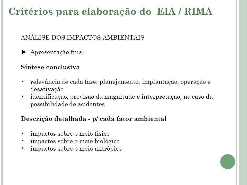 ANÁLISE DOS IMPACTOS AMBIENTAIS Apresentação final: Síntese conclusiva relevância de cada fase: planejamento, implantação, operação e desativação iden