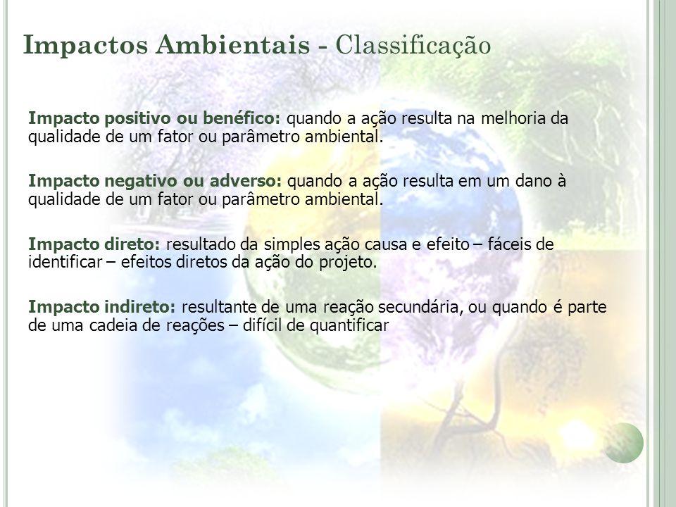Impacto positivo ou benéfico: quando a ação resulta na melhoria da qualidade de um fator ou parâmetro ambiental. Impacto negativo ou adverso: quando a