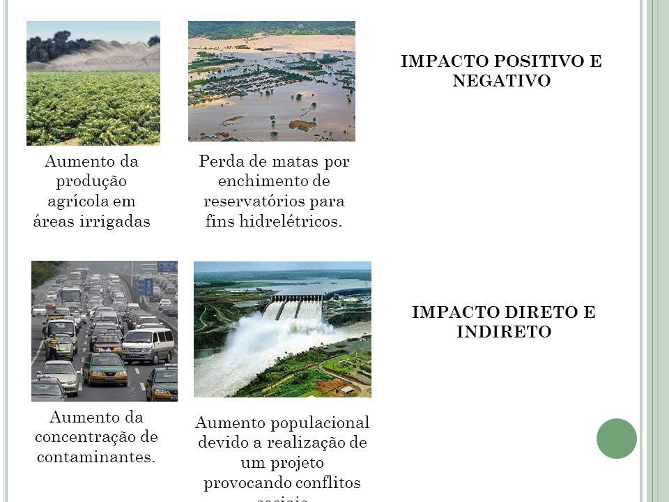 Aumento da produção agrícola em áreas irrigadas Perda de matas por enchimento de reservatórios para fins hidrelétricos. Aumento da concentração de con