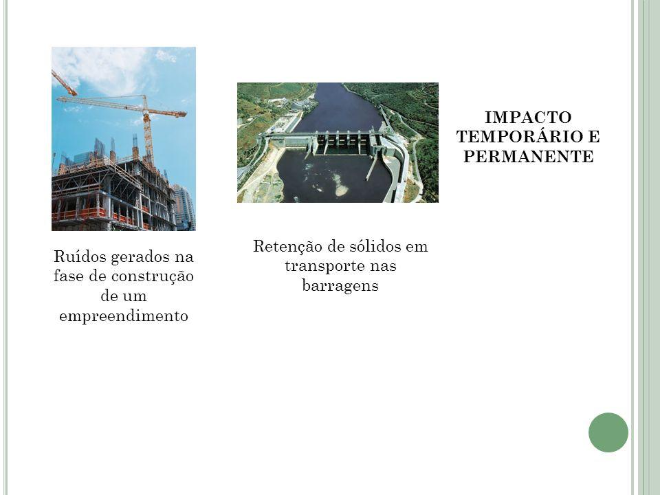 Ruídos gerados na fase de construção de um empreendimento Retenção de sólidos em transporte nas barragens IMPACTO TEMPORÁRIO E PERMANENTE