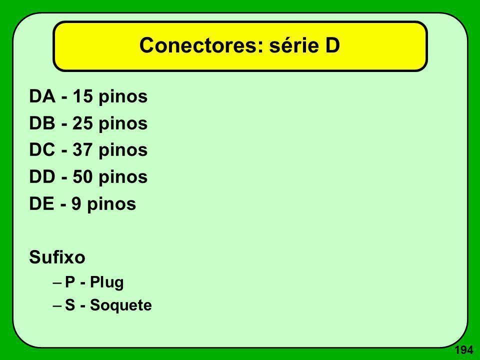 194 Conectores: série D DA - 15 pinos DB - 25 pinos DC - 37 pinos DD - 50 pinos DE - 9 pinos Sufixo –P - Plug –S - Soquete