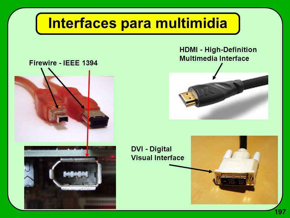 197 Interfaces para multimidia Firewire - IEEE 1394 HDMI - High-Definition Multimedia Interface DVI - Digital Visual Interface