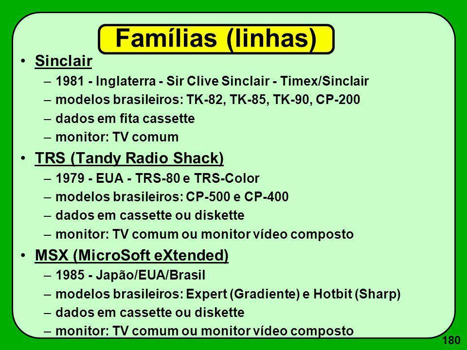 181 Famílias (cont.) Apple –1977 - EUA - Steeve Jobs e Steeve Wosniak –modelos: »APPLE II (1977) »APPLE II e (1979) »APPLE II GS (1984) »MACINTOSH 512 (1985) »MACINTOSH Classic (1991) »MACINTOSH LC/LCII/ LC III (1992/93) »MACINTOSH Quadra (1994) »MACINTOSH Performa / Power PC (1995) »MACINTOSH G3 (1997) »MACINTOSH iMac (1998) »MACINTOSH G4 (2002) »MACINTOSH G5 (2004) »MACINTOSH Intel-Xeon (2008)