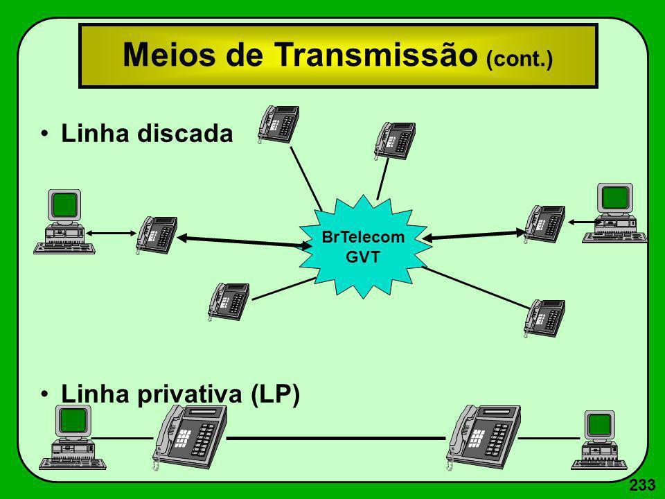 233 Linha discada Linha privativa (LP) BrTelecom GVT Meios de Transmissão (cont.)