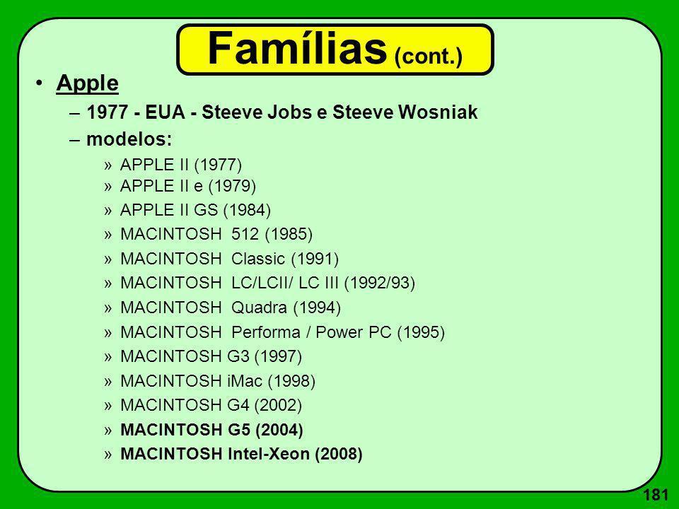 181 Famílias (cont.) Apple –1977 - EUA - Steeve Jobs e Steeve Wosniak –modelos: »APPLE II (1977) »APPLE II e (1979) »APPLE II GS (1984) »MACINTOSH 512